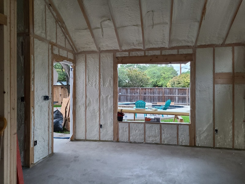 House with spray foam insulation installed in roof and walls in San Antonio Tx